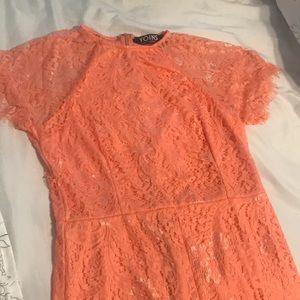 Dresses - Pink delicate lace round neck short sleeve dress